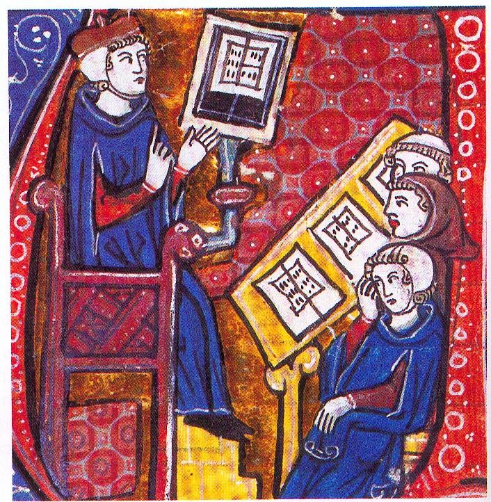 Eglise-et-enseignement----cole-miniature-XIIe-s